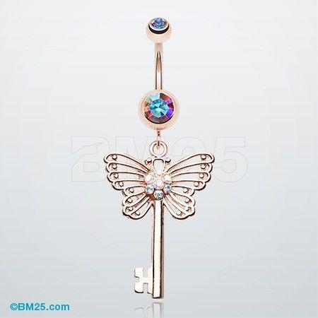 Rose Gold Butterfly Secret Key Belly Button Ring
