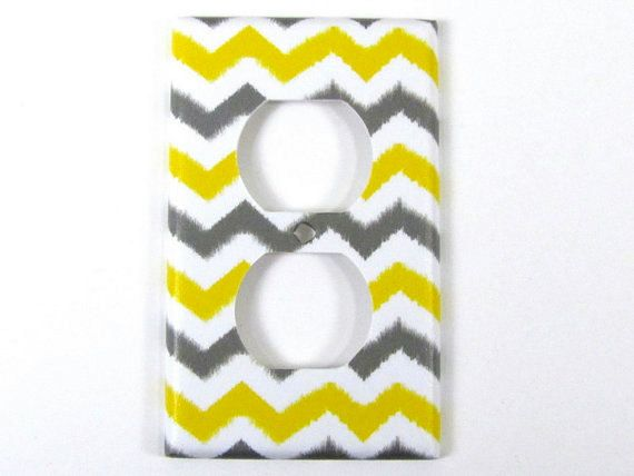 Ikat Chevron Outlet Cover in Yellow and Dark Gray - Zig Zag, Gender Neutral Nursery Decor, Bedroom Wall Decor - Choose Your Color