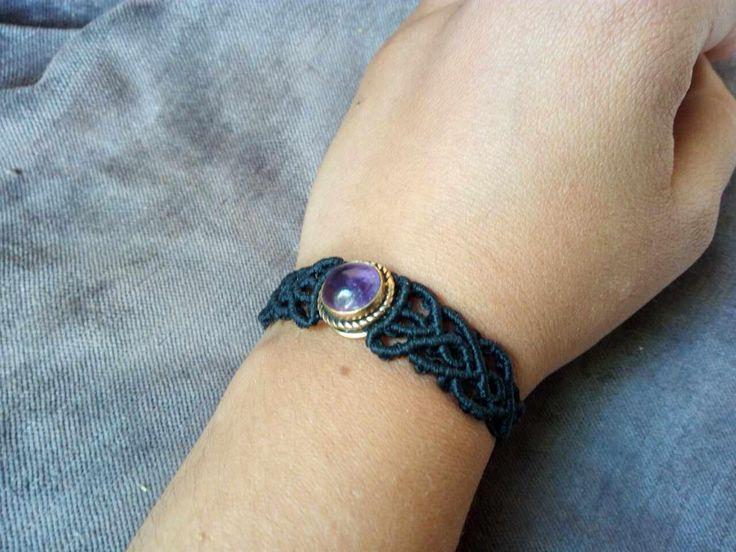 macrame amethyst bracelet with brass by AmethystHandmadeCrea on Etsy