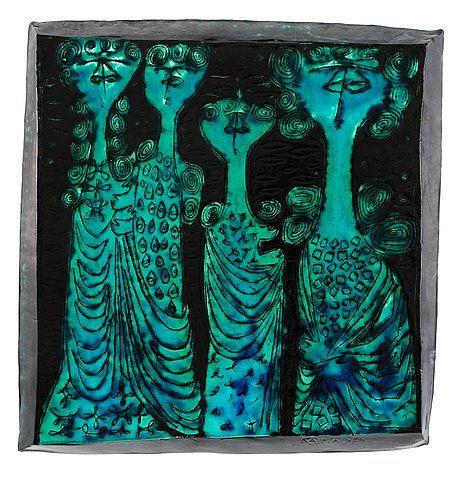 Birger Kaipiainen 'Four sisters' stoneware plaque, Arabia 1950's. . - Modern Autumn Sale, stockholm 557 – Bukowskis