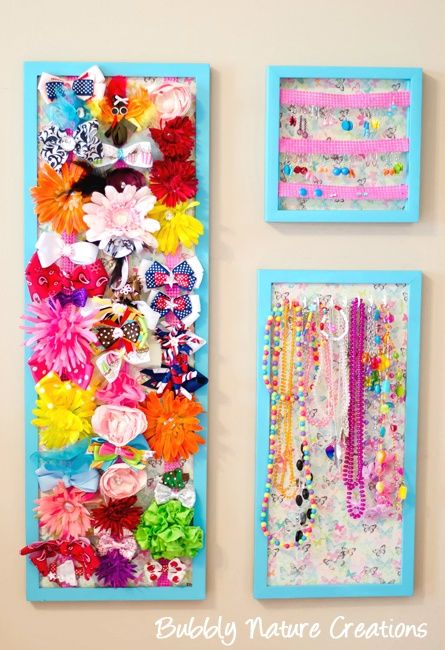 Use these frames to help store and organize your little girls hair bows, or necklaces. Rachel created this project. All supplies were found at her local Walmart. #walmart