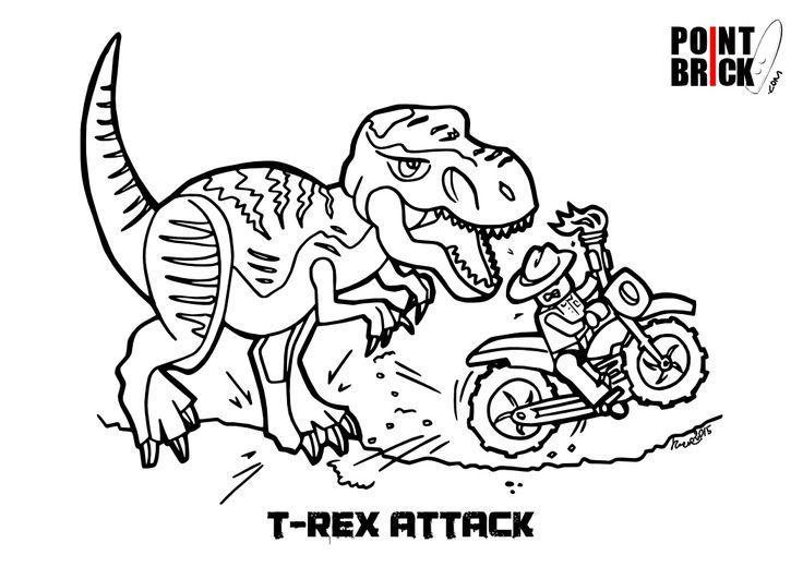 disegno da colorare lego l attacco del t rex clicca