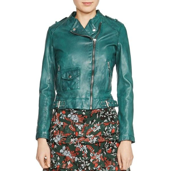 Maje Bassou Leather Jacket (€315) ❤ liked on Polyvore featuring outerwear, jackets, green, maje jacket, 100 leather jacket, real leather jackets, green leather jacket and leather jackets