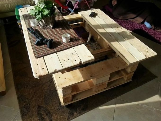 Craft your own customized coffee table for the living room according to the space and purpose. This coffee table crafted from pallet wood is cheap and customized that suits the need. You don't need to waste time finding an appropriate coffee table when you can simply create one from the pallet wood.