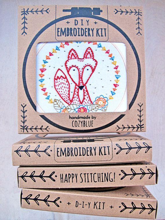 CRAFTY FOX embroidery kit  diy gift kit cute sly fox by cozyblue