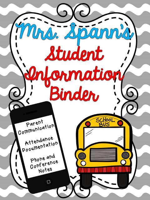 Classroom Freebies: Student Information Binder FREEBIE