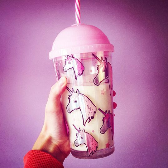 Pink unicorn cup - perfect for strawberry milkshake!
