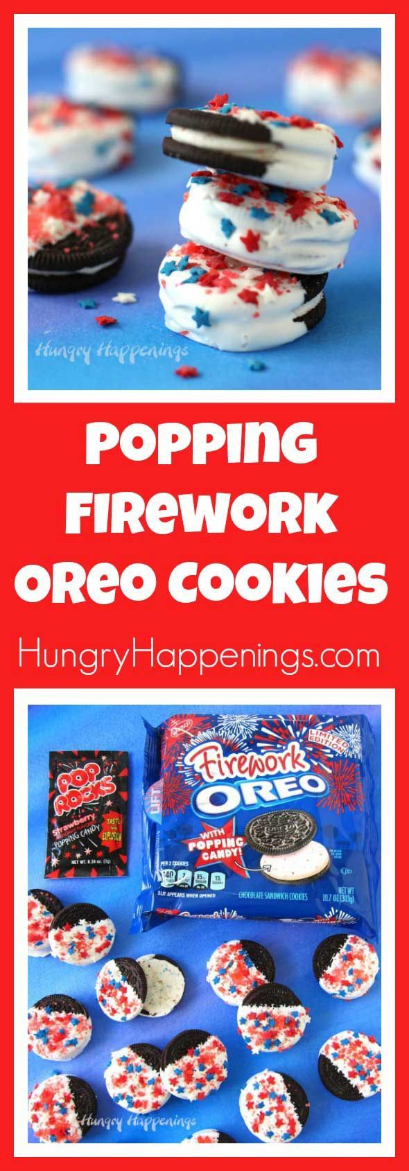 Celebrate Memorial Day, 4th of July or Labor Day with some double Popping Firework Oreo Cookies. With each bite, you'll enjoy the sweet sensation of fireworks popping in your mouth.