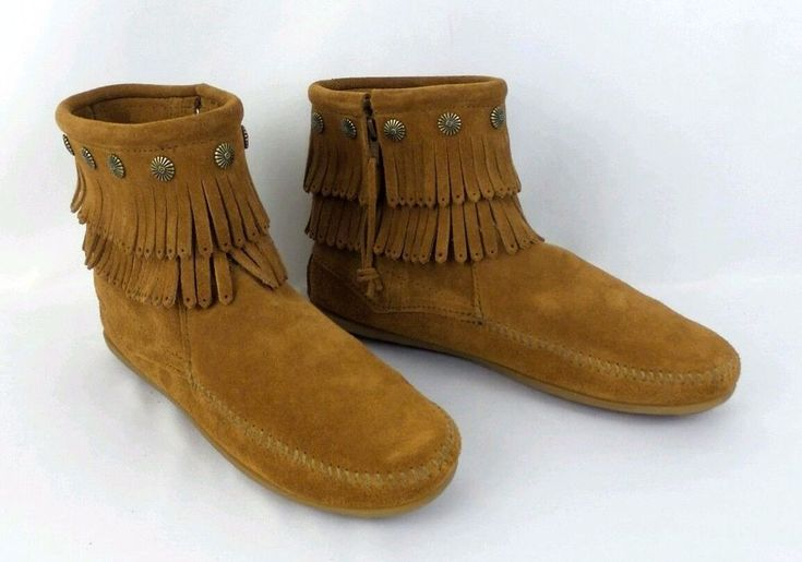 Womens Minnetonka Moccasin Ankle Boots Size 9.5 Brown Double Fringed #Minnetonka #AnkleBoots
