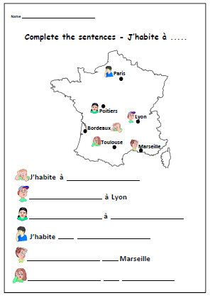 Where do you live FRENCH WORKSHEETPrimary by YippeeLearning