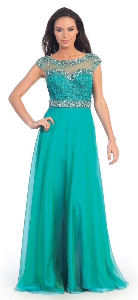 Elegant Long Prom Dress Cap Sleeve Lace with Rhinestone Bodiced Chiffon Skirt  #ThedressoutleT #Formal