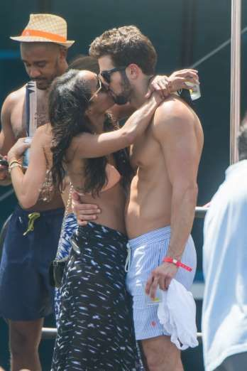 """Celebrity PDA of 2017 - December 11, 2017:  """"The Bachelorette"""" star Rachel Lindsay and new fiance Bryan Abasolo were seen smooching at a pool party in Miami Beach on Aug. 25."""