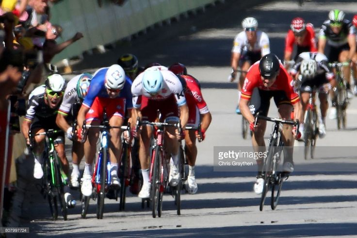 #TDF2017 Peter Sagan of Slovakia riding for Bora-Hansgrohe and Mark Cavendish of Great Britain riding for Team Dimension Data are involved in a crash near the finish line during stage four of the 2017 Le Tour de France, a 207.5km stage from Mondorf-les-Bains to Vittel on July 4, 2017 in Vittel, France.