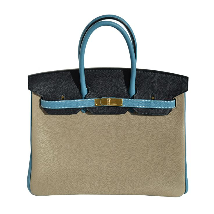 HermèsTri-Colored Togo Leather Birkin Bag