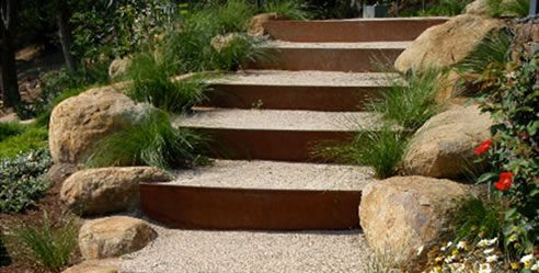 Garden Steps with Steel Edging from FormBoss Metal Garden Edging