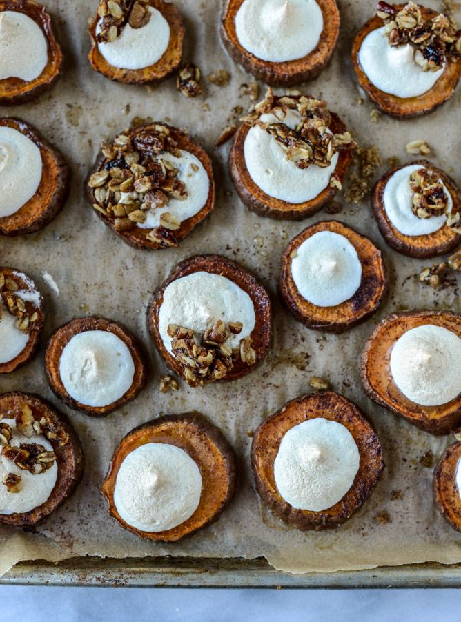 roasted sweet potato casserole bites with oatmeal cookie crumble.