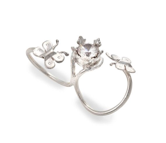 Women's In Between Fingers Silver Ring with 1 Synthetic Stone Inside Crown and 2 Flying Butterflies - Kabbalah Inspired - Handmade per Order