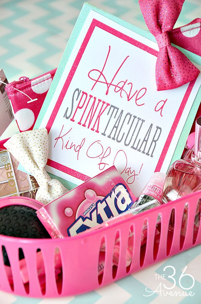 Do it Yourself Gift Basket Ideas for all Occassions - Have a SPINKtacular or PINKtastic Kind of Day Gift Basket Idea and Free Gift Card Printables via the 36th Avenue