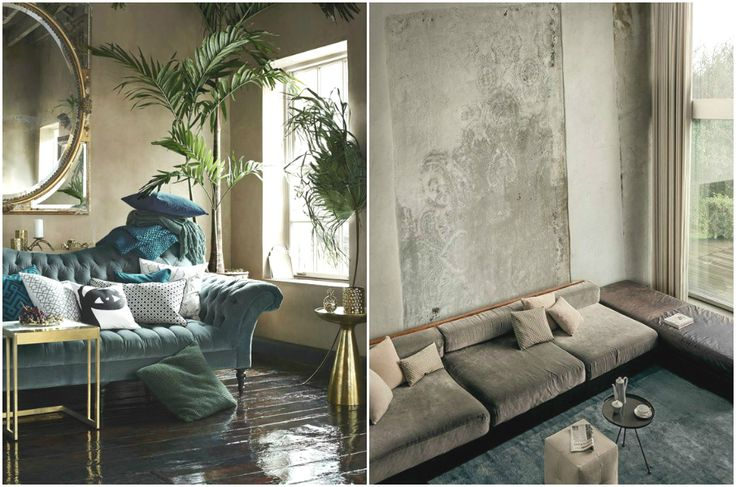 Бархатный диван в интерьере #дизайн #интерьер #декор #тренды #стиль