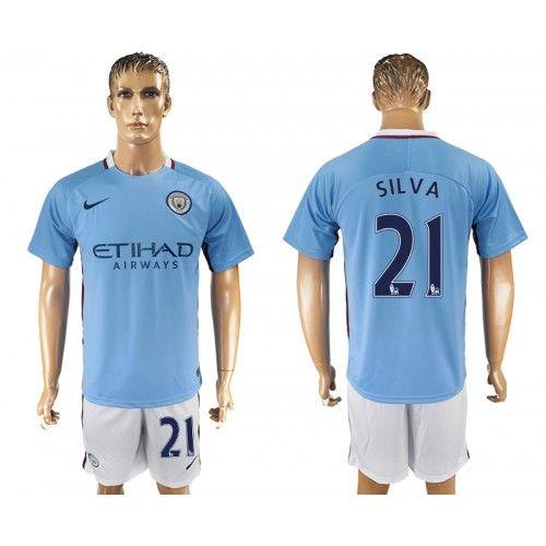 2017-18 Fußball Trikot Manchester City Home 21 Silva Fußball Trikot