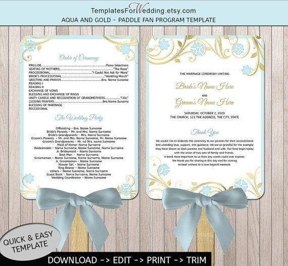 Items Similar To Periwinkle Wedding Program Fan Template