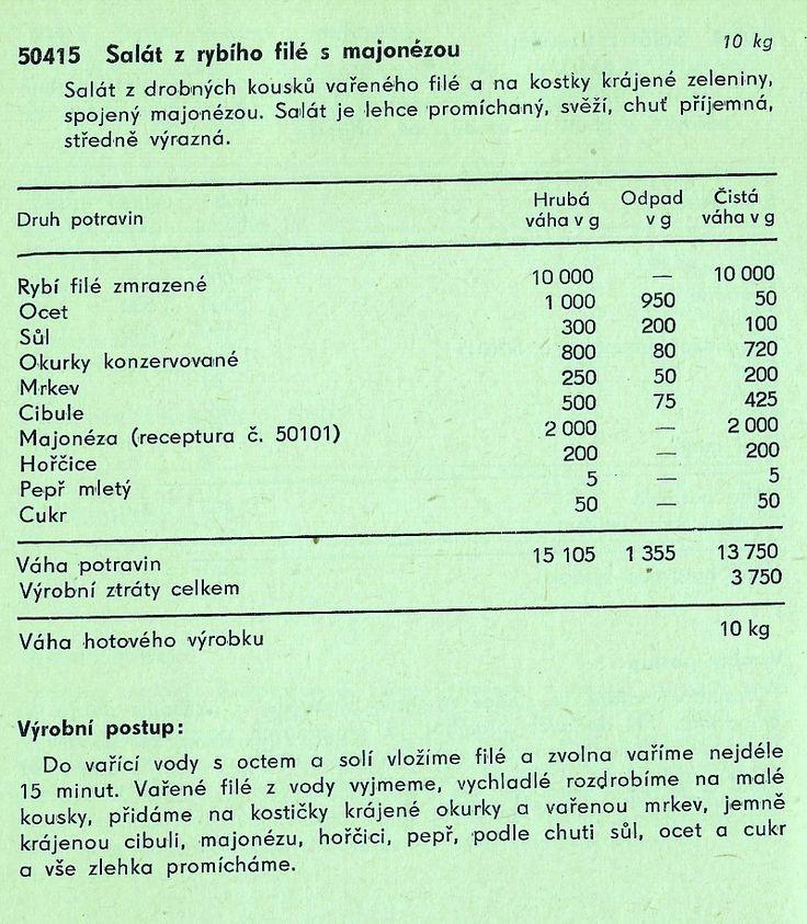 Na oba saláty podle receptur československých norem je jako základní surovina použito mražené rybí filé z tresky. Dalším společným rysem je snadná příprava a jen malé množství doplňujících surovin.