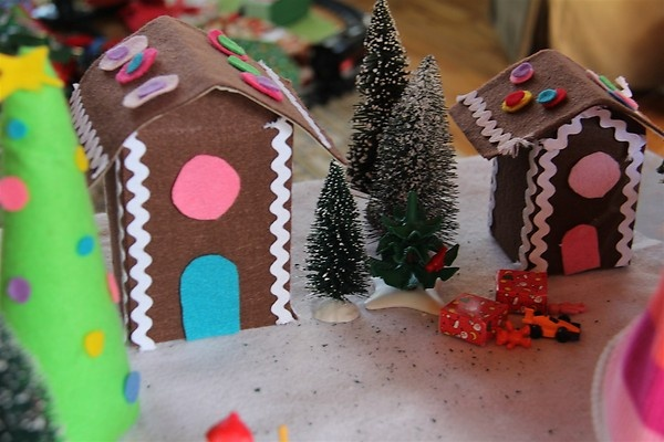 Felt Gingerbread Village with Playmobil Guests