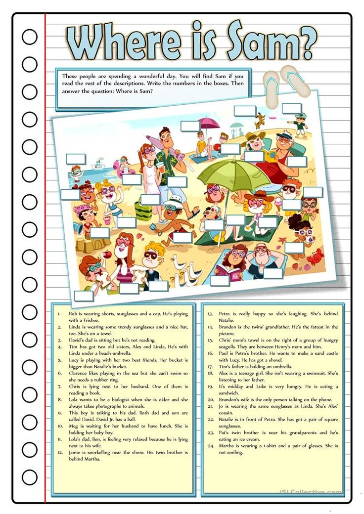 WHERE IS SAM? worksheet - Free ESL printable worksheets made by teachers