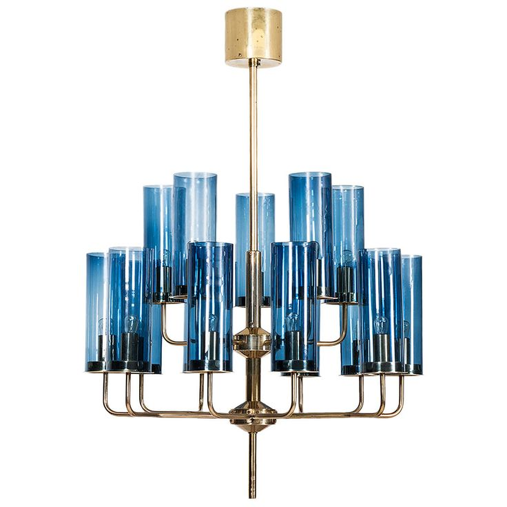Hans-Agne Jakobsson Ceiling Lamp in Brass and Blue Original Glass | From a unique collection of antique and modern chandeliers and pendants at https://www.1stdibs.com/furniture/lighting/chandeliers-pendant-lights/
