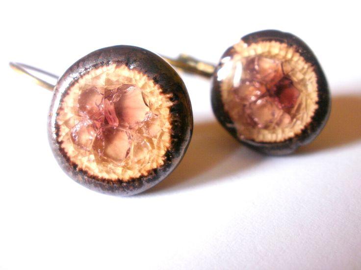 White Clay Tawny-Port Earrings