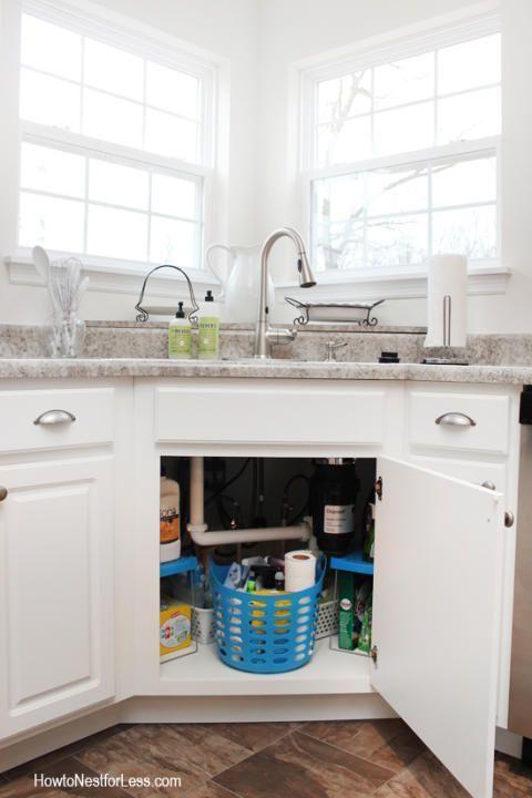How To Organize Under Your Kitchen Sink How To Nest For Less Under Kitchen Sinks Corner Sink Kitchen Kitchen Organization Diy
