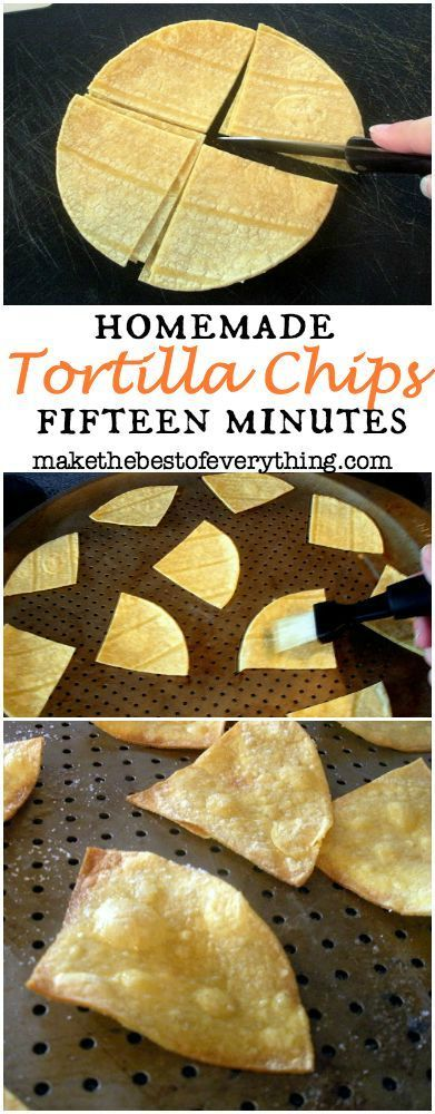 Homemade Tortilla Chips in 15 minutes. Excellent portion control
