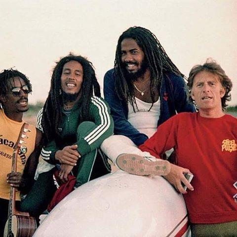 Junior Marvin, Bob Marley, Jacob Miller and Chris Blackwell in Brazil 1980