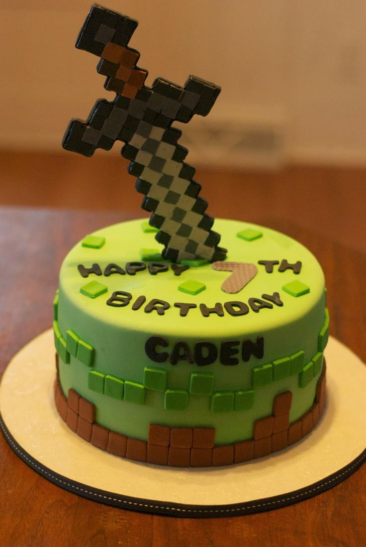 Brilliantly decorated Minecraft sword cake