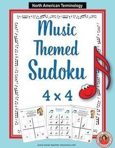 Music Puzzles: SUDOKU 4 x 4. Engage your students with these music themed Sudoku puzzles that will help develop deductive reasoning and critical thinking while reinforcing their knowledge of music words and symbols! Included in this pack are TEN music themed Sudoku puzzles. ♫ CLICK through to preview or repin for later! ♫