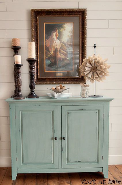 Annie Sloan's Duck Egg Blue Chalk paint & glazed with Burnt Umber Universal Tint from Lowes, plus detailed oak candlesticks and burlap wreath!