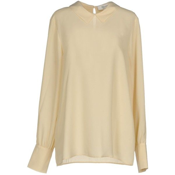 Blugirl Blumarine Blouse (244,075 KRW) ❤ liked on Polyvore featuring tops, blouses, beige, long sleeve blouse, brown top, brown blouse, brown long sleeve top and beige long sleeve blouse