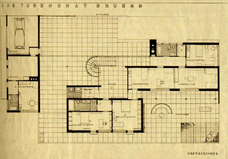 ground floor plan villa tugendhat ludwig mies van der. Black Bedroom Furniture Sets. Home Design Ideas
