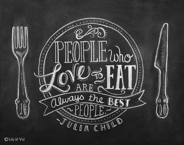 Chalkboard lettering. Love to eat!
