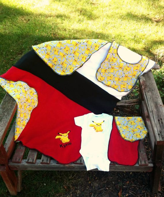 This gift set includes: *** One personalized blanket in one of two sizes baby (30 in by 36 in) or Toddler ( 36 in by 42 in) It is embroidered with Pikachu (convo me for different character) on redanti-pill fleece. It is backed with knit Pokemon fabric. The edges are serged to last.