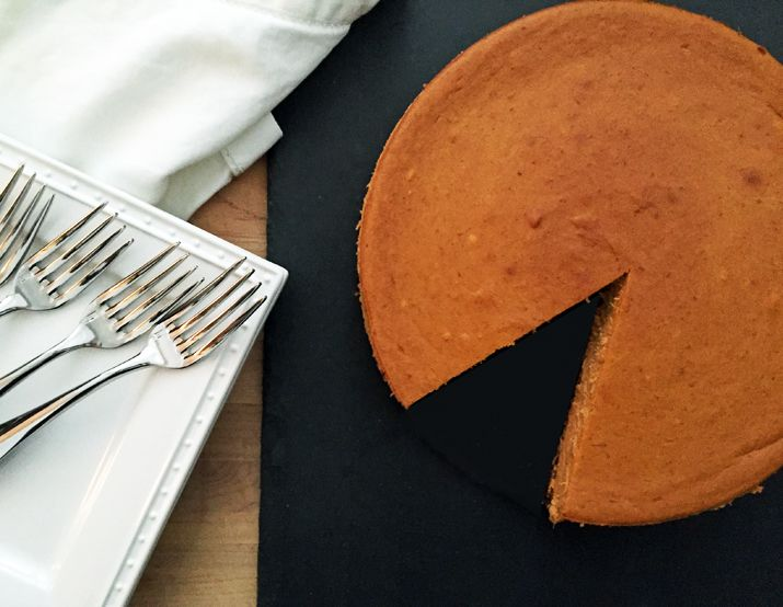 Alton Brown's Pumpkin Cheesecake: Make this pumpkin cheesecake with ginger snap crust and store covered in the fridge for up to a week, which is great for cooks who want to get ahead of all their cooking and baking.