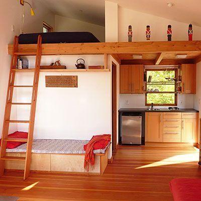Loft com dois espaços para dormir.