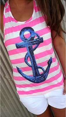 Women's Cute Casual Stripe Sequined Nautical Print Backless Tank Top 3 Colors S-XL