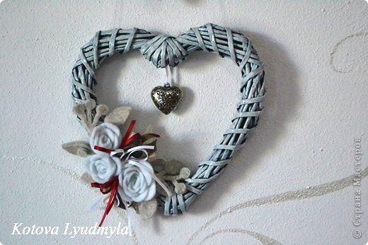 Cuori di prodotto Master Class artigianale Capodanno Applique Lavorato a telaio di tubi di carta Colla Vernice nastri di carta Felt Foto 7
