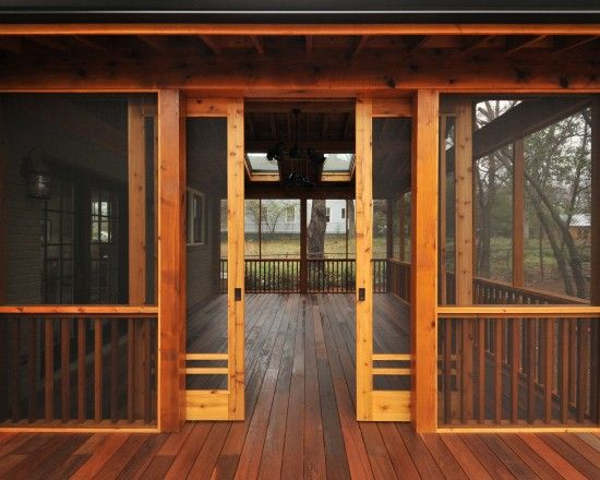 sliding screen doors?  What a great idea!  Craftsman Porch Design. I saw these once that were weighted so they would self-close. Even better idea!!