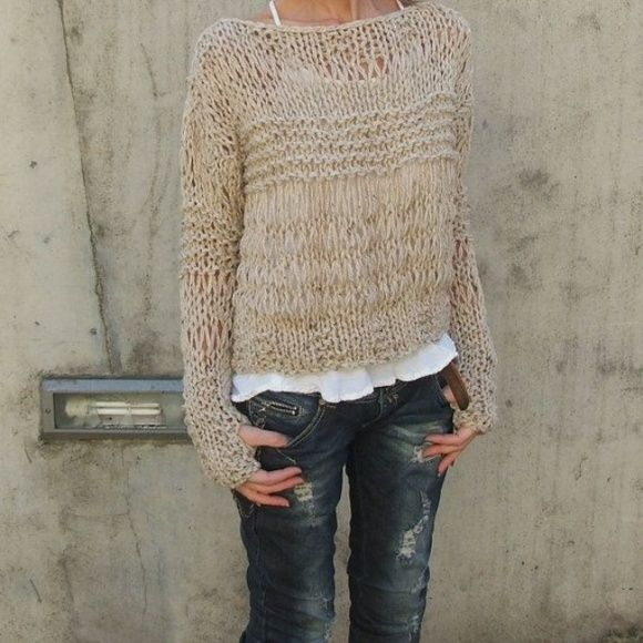 Tan Crochet Sweater Fitted crochet sweater that can be dressed up with some sparkles and baubles or dressed down with some distressed denim and a messy bun.  First picture was the most similar thing I could find on Pinterest since I can't model gorgeous knit myself, but it gives you a great idea on how to style this! Sweaters Crew & Scoop Necks