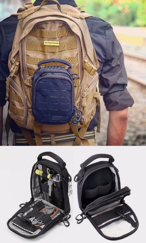 Nitecore NDP10 EDC Tactical Pouch with Molle System and Patch area plus LumenTac Battery Organizer - Everyday Carry Gear