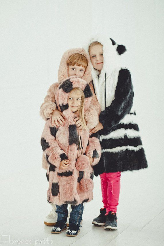 250b6383703d6 Pink and gray fur coat for kids Winter kids coat