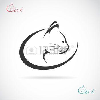 chat tatouage: vecteur d'image d'une conception de chat sur fond blanc.