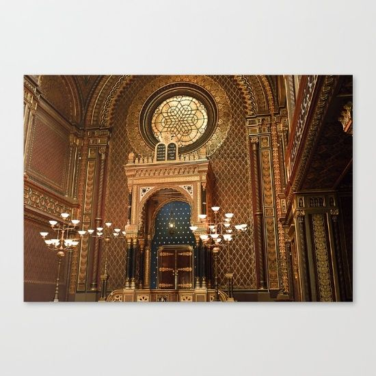 """Fine art print on bright white, fine poly-cotton blend, matte canvas using latest generation Epson archival inks. Individually trimmed and hand stretched museum wrap over 1-1/2"""" deep wood stretcher bars. Includes wall hanging hardware. Shop it here! https://society6.com/product/spanish-synogogue_stretched-canvas?curator=wellglow"""